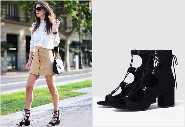 Lace-Up Sandals With Block Heel | POPSUGAR Fashion