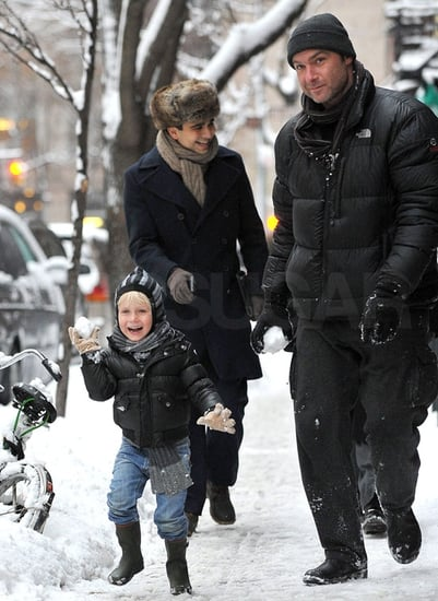 Pictures of Liev and Sasha Schreiber Throwing Snowballs in NYC