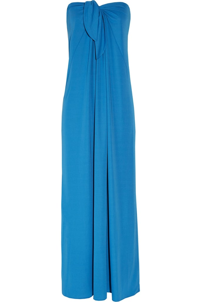When you're looking to dress up this Halston Heritage strapless crepe maxi dress ($495), take advantage of the neckline and add a pair of dangling earrings or an ornate statement necklace to take it from casual to a black-tie wedding.