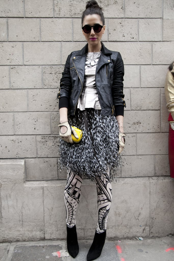 Bold print play with a rocker-style leather for a cool complement.