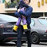 Ben Affleck hugged a toothless Violet Affleck.