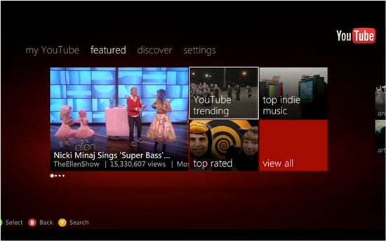 YouTube's updated dashboard on Xbox Live.