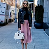 Top Your Ladylike Pink Skirt With a Biker Jacket