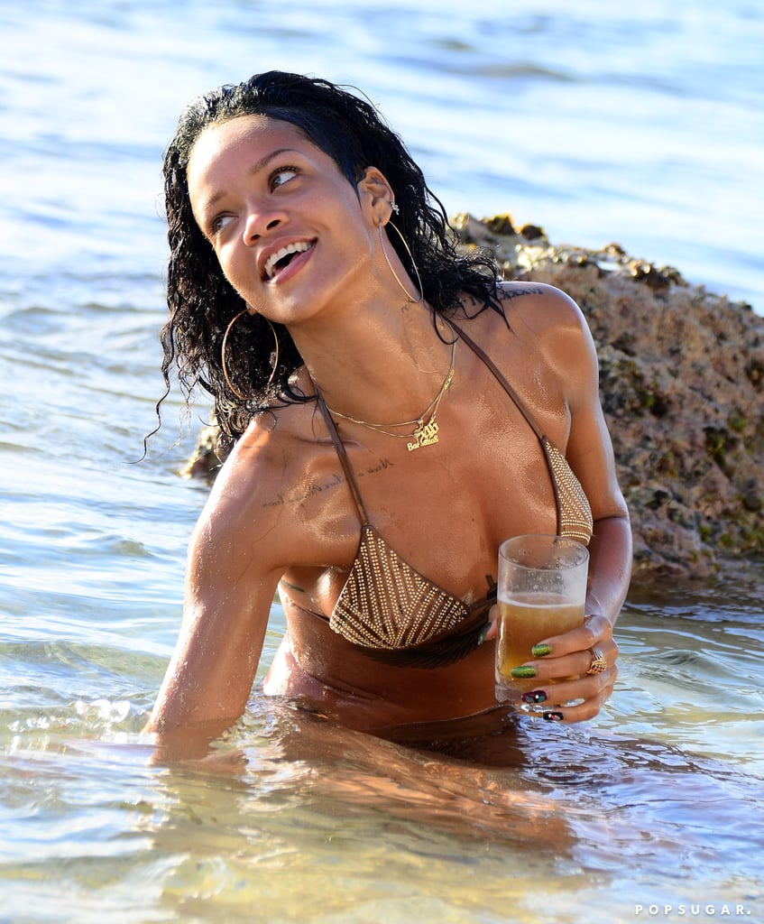 Rihanna was all smiles in the water.