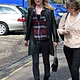 Kate Moss looked effortlessly cool in plaid and leather.