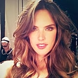 Alessandra Ambrosio looked sexy on the Victoria's Secret set. Source: Instagram user alecambrosio