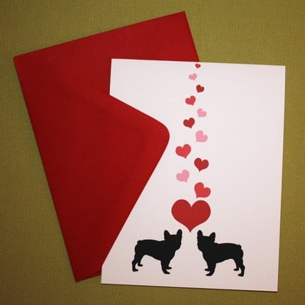 French Bulldogs in Love  Valentine or Greeting by oliverbludesigns ($2.25)