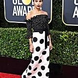Zoë Kravitz Wearing a Polka-Dot Gown at the Golden Globes