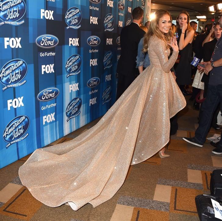 Jennifer Lopez S Gold Dress At American Idol Finale 2016 Popsugar Fashion