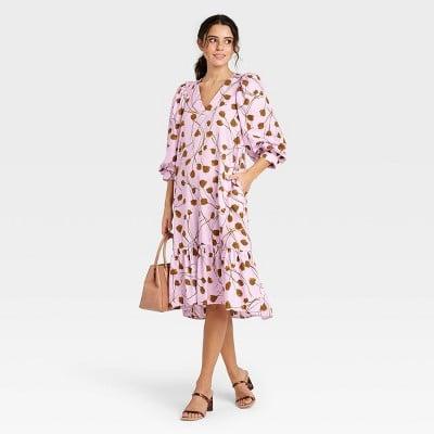 Pattern Play: A New Day Long Sleeve Ruffle Hem Dress