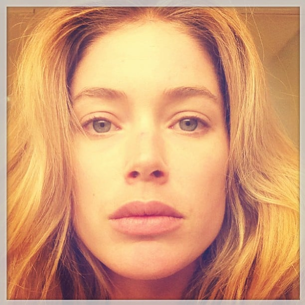 "Doutzen Kroes shared an extreme close-up, saying that she wasn't wearing makeup but was ""thankful for the Instagram filters."" Source: Instagram user doutzen"