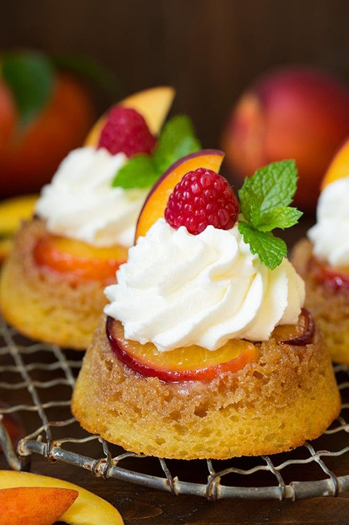 Cornmeal Peach Upside-Down Cupcakes