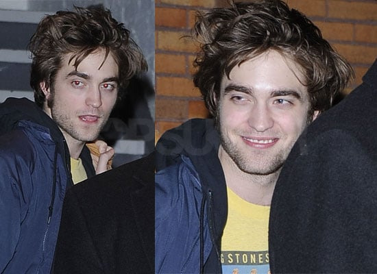 Photos of Twilight Star Robert Pattinson Smiling in New York For Remember Me Including The Daily Show, Sticking His Tongue Out