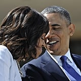 The president and first lady enjoyed each other's company at the George W. Bush Presidential Library dedication in April.