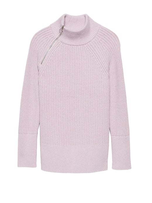 Chunky Side-Zip Mock-Neck Sweater