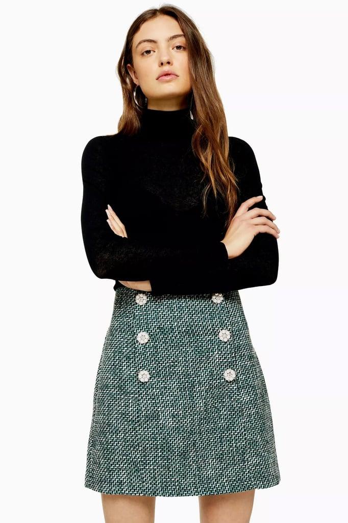 Topshop Green Boucle Mini Skirt