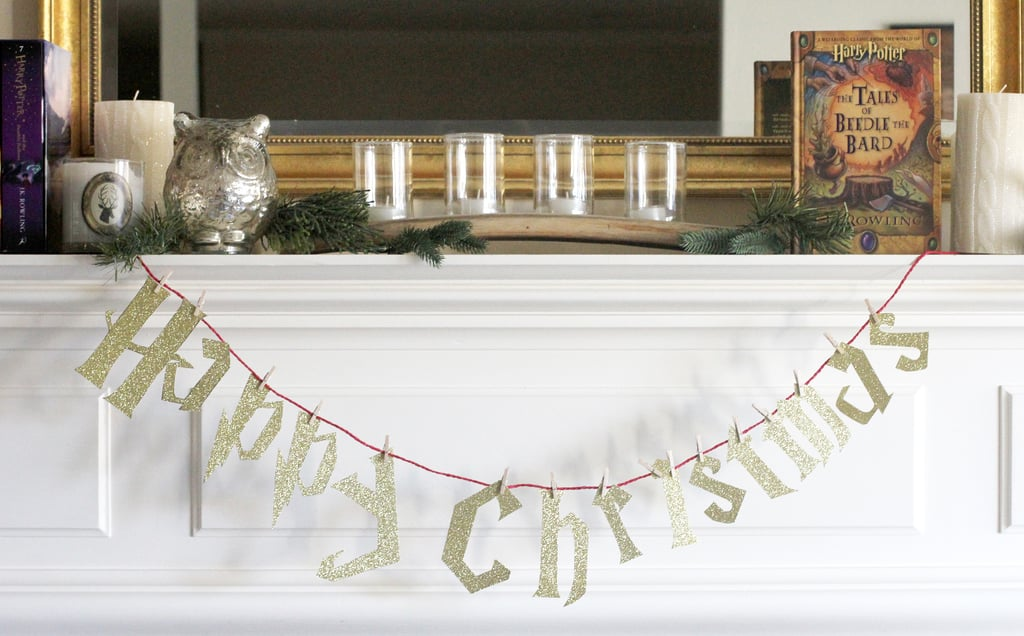 Set the scene with a Happy Christmas sign.