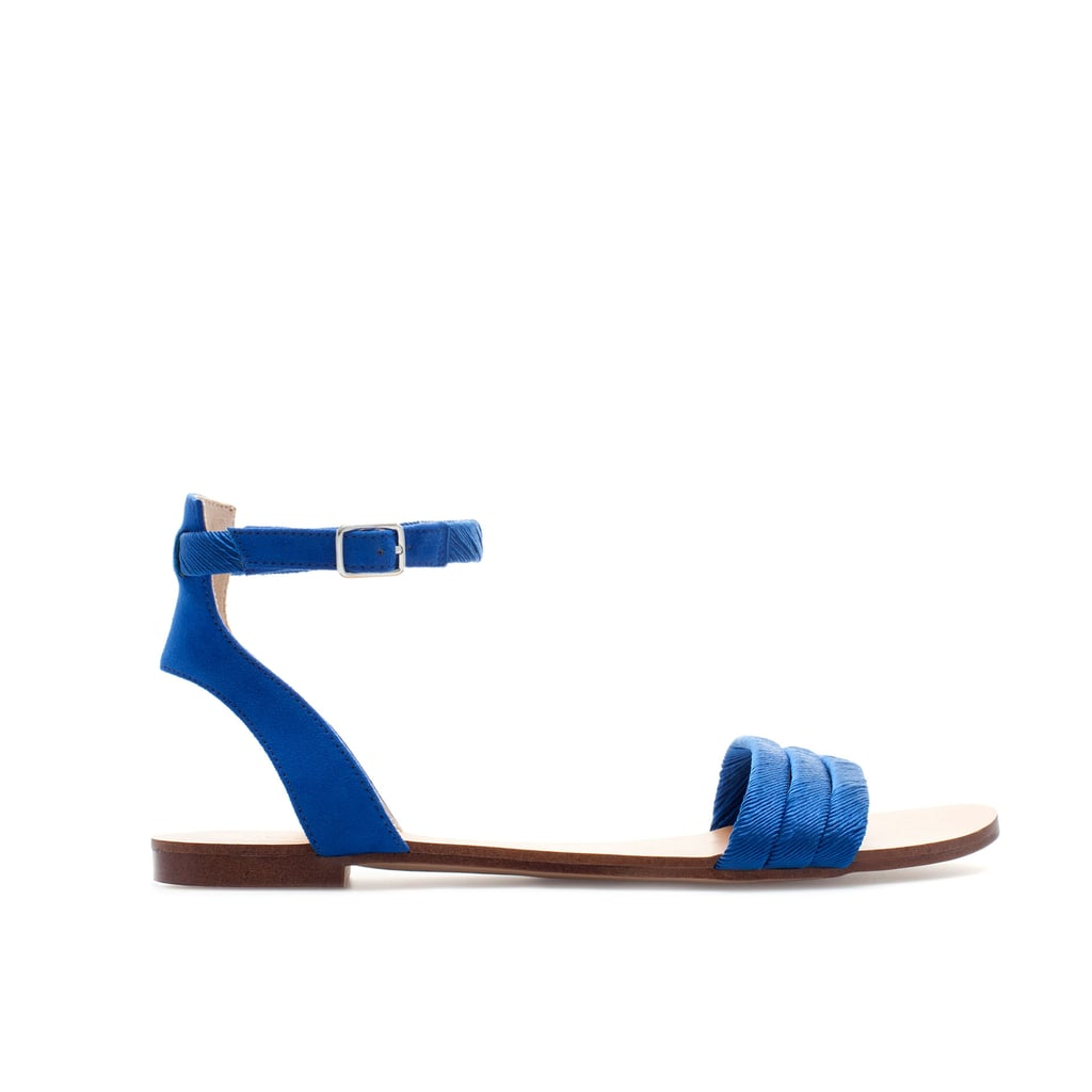 Try out a beautiful blue with Zara's satin-strap sandals ($40).