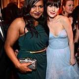 Fox stars Mindy Kaling and Zooey Deschanel stayed close at the post-Emmy party.