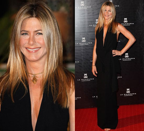 Photo of Jennifer Aniston in Black Dress at Hotel La Mamounia in Marrakech, Morocco.
