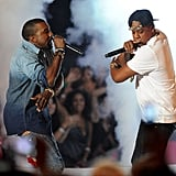 "Kanye West and Jay-Z took to the VMA stage with a performance of ""Otis."""