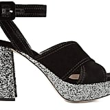 Miu Miu Velvet and Glitter Platforms