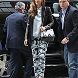 Jessica Alba wore printed pants while doing press in NYC.