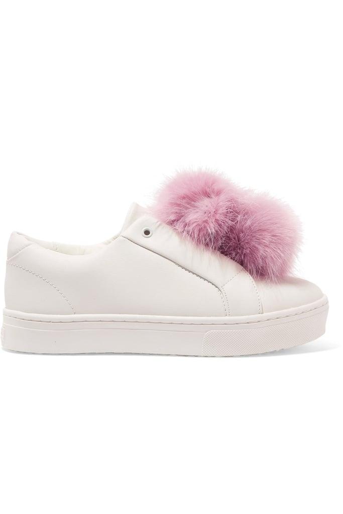 Sam Edelman Leya Faux Fur-Trimmed Leather Slip-On Sneakers