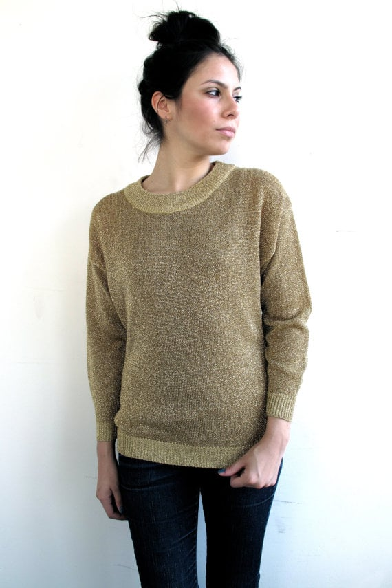 The ultimate budget piece, this gold sweater looks like it could easily be over $100. Vintage Gold Metallic Sweater ($27)