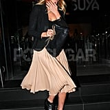 Lauren Conrad wore a pretty pleated skirt to dinner.