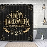 Happy Halloween Bat With Pumpkin Shower Curtain