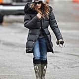 On Monday, Sarah Jessica Parker braved the chilly weather in NYC.