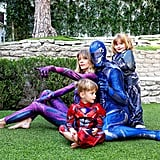 Jaime King and Her Family as Power Rangers