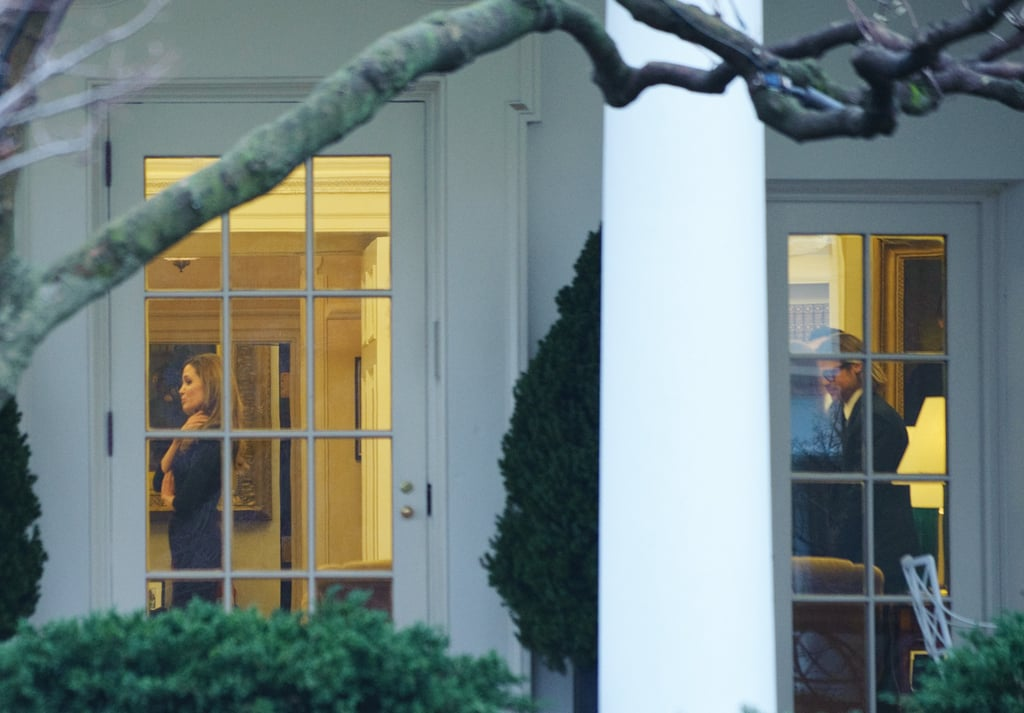 Angelina Jolie and Brad Pitt visited President Obama in the Oval Office in January 2012.
