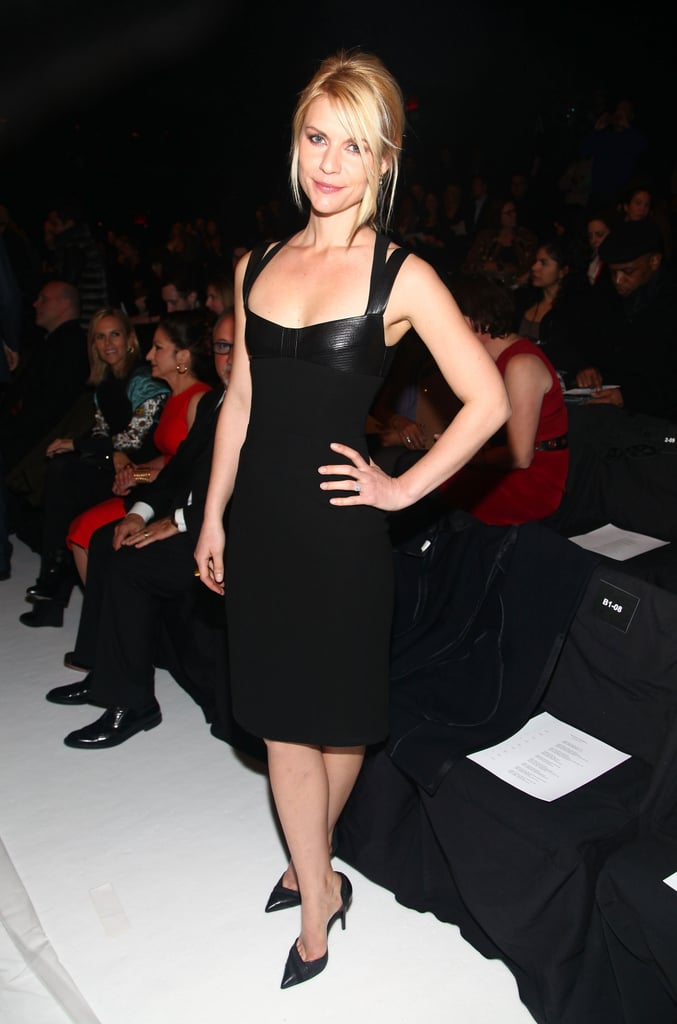 Claire Danes opted for leather-trimmed Narciso in the desinger's front row.
