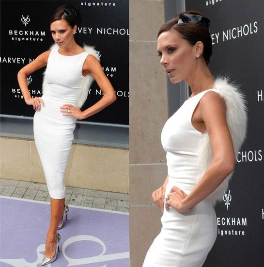 Victoria Beckham Signs Her New Fragrance Signature in a White Giambattista Valli Dress
