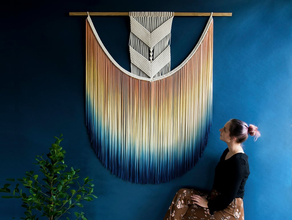 Large Dip-Dyed Macrame Wall Hanging