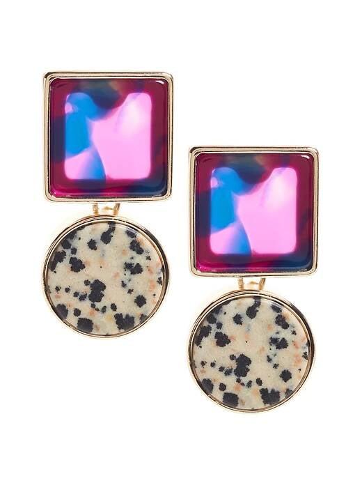 Purple Mixed Drop Earrings
