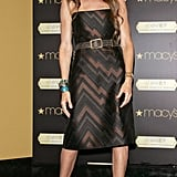 This brown and black zigzag-print strapless sheath was way cool, and colorful bracelets added a splash of color. (2007)