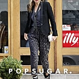 Kate Moss left a London eatery after grabbing lunch.