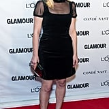 She wore a black dress with a sheer neckline to Glamour's Women of the Year Awards in 2015.
