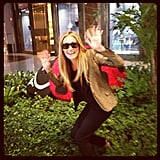 Cat Deeley sported a gold metallic blazer. Source: Instagram user catdeeley