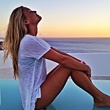 Stunning Israeli model Bar Refaeli looked serene as she posed for this seaside snap.