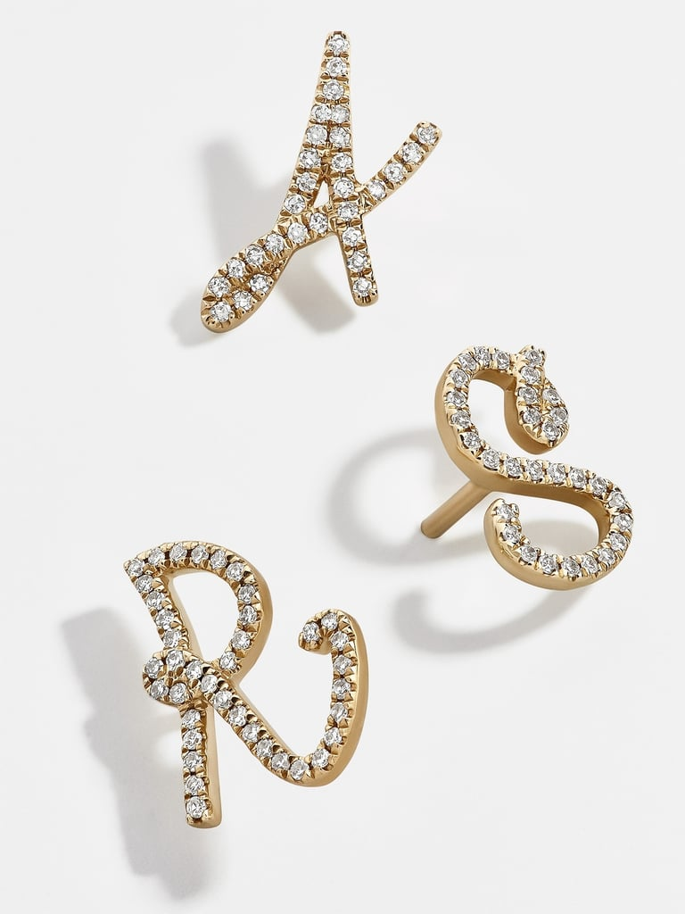BaubleBar's Diamond Graffiti Letter Single Stud Earrings