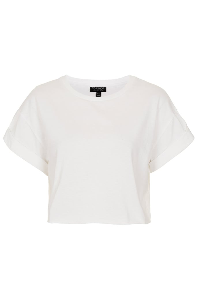 Get in on the crop-top look with this basic white version from the Topshop Festival Collection for Summer 2013, inspired by Kate Bosworth.