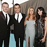 Pictured: Matt Damon, Jennifer Aniston, Luciana Barroso, and Justin Theroux