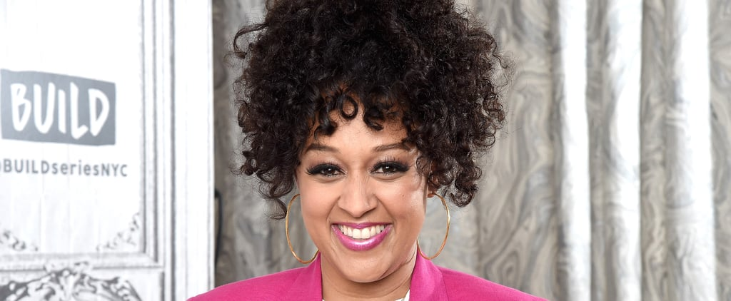 See Tia Mowry's Blond Hair Color and Bangs Hairstyle