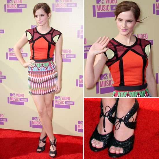 Pictures of Emma Watson in Peter Pilotto Dress on the Red Carpet at the 2012 MTV Video Music Awards