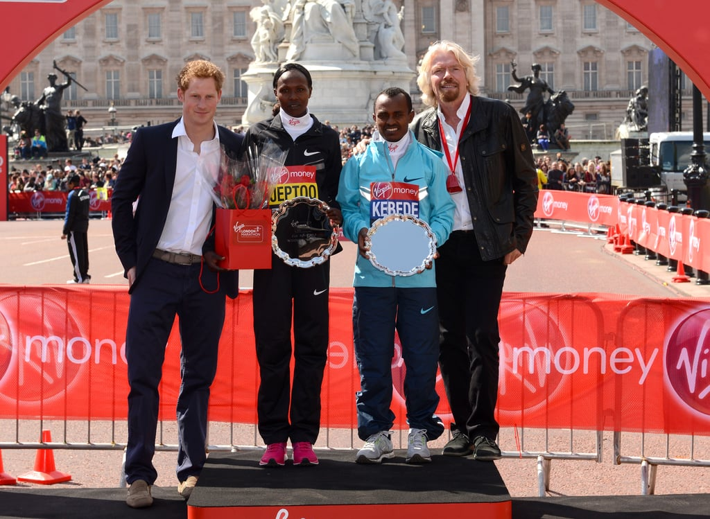 Prince Harry and Sir Richard Branson posed with women's champion Priscah Jeptoo and men's champion Tsegaye Kebede after they won their races.