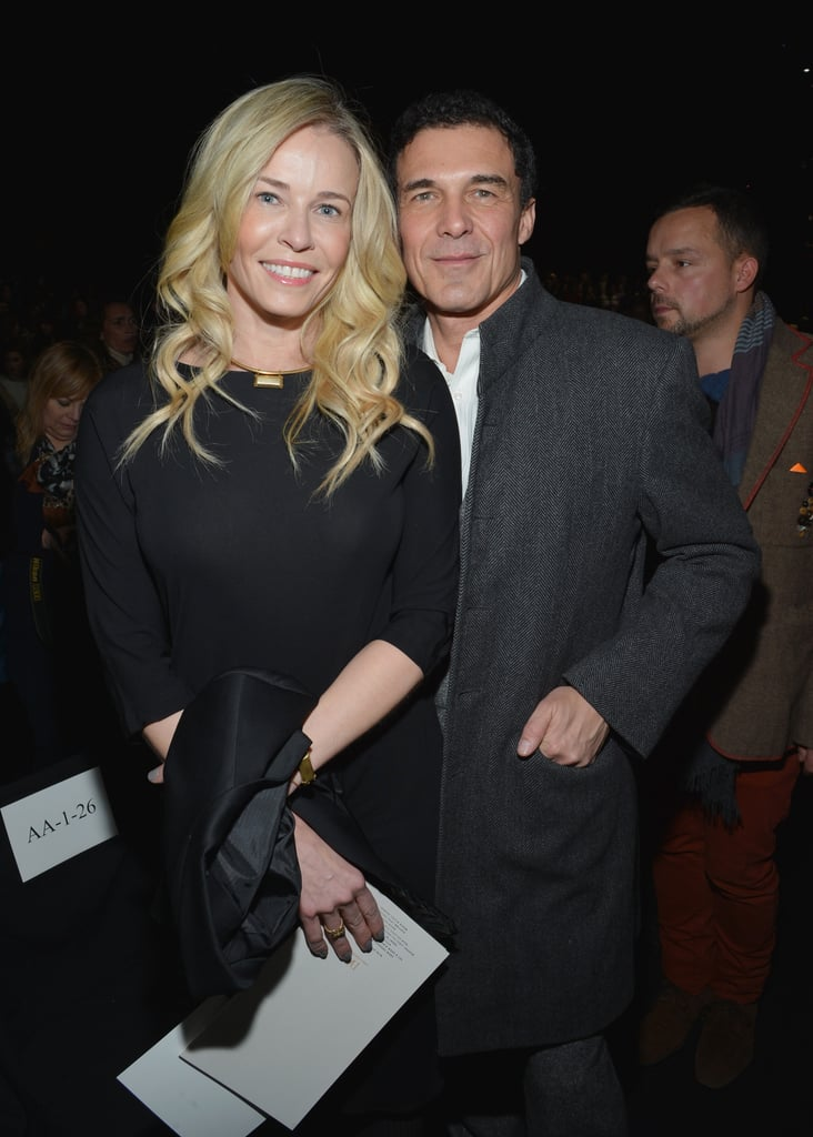 Chelsea Handler cuddled up with André Balazs at Diane von Furstenberg's presentation at New York Fashion Week in February.